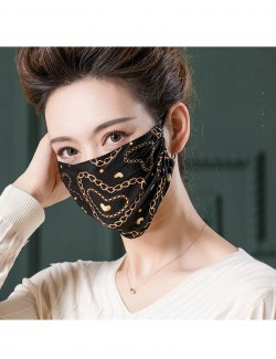 Gold chains pattern printed mulberry silk face mask
