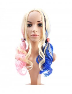 Blue pink gold curly long hair synthetic wig