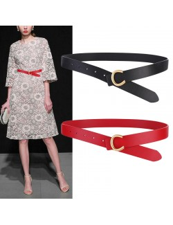 Women's buckle smooth leather belt