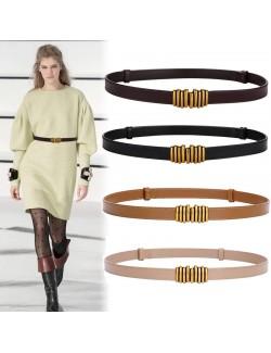 Ladies leather buckle skinny belt