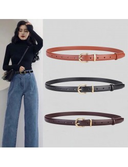 Gold metal round buckle leather skinny belt