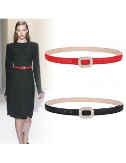 Nubuck leather smooth buckle skinny belt