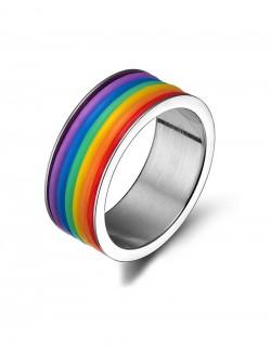 Rainbow enamel stainless steel ring