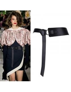 Women's knotted asymmetry wide leather belt
