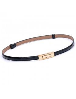 Rectangular buckle leather skinny belt