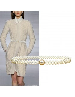 Pearl decoration stretch belts for women
