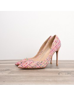Rose candy color fabric high heels