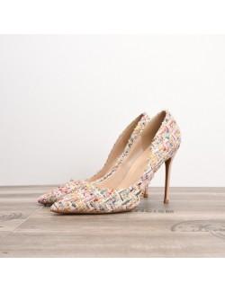 Flowery fabric high heels plus size