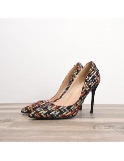 Dark floral fabric high heels