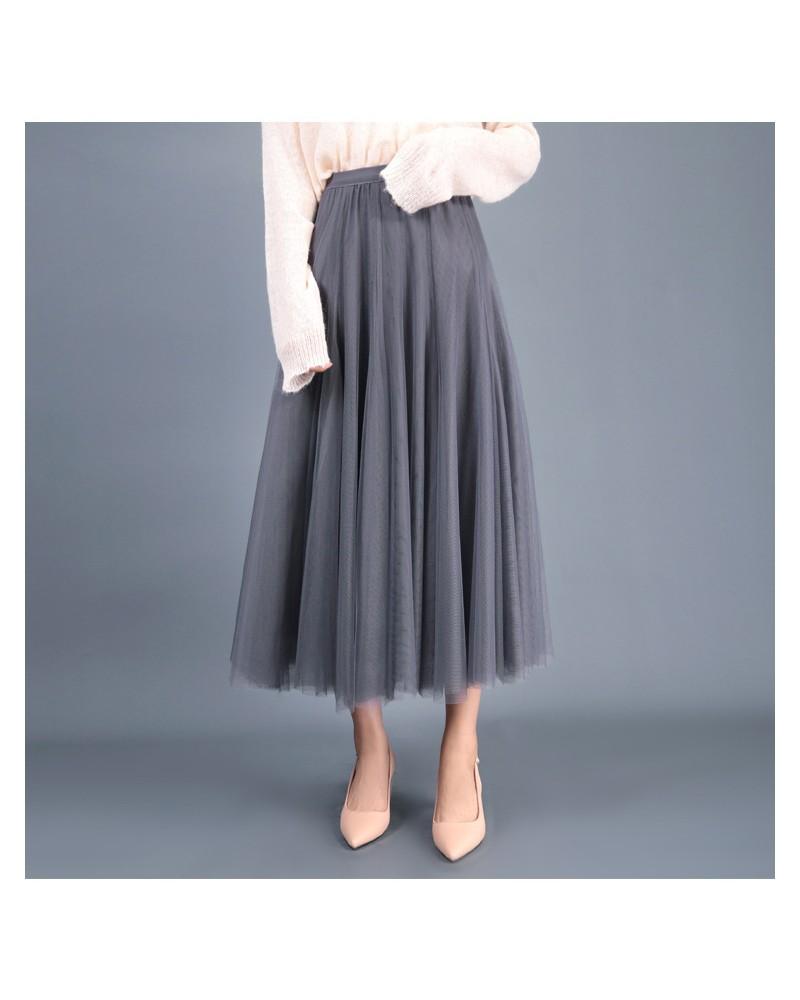 Stylish grey waist tulle flowy skirt