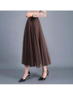 Stylish long brown tulle skirt