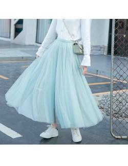 Stylish long black tulle skirt