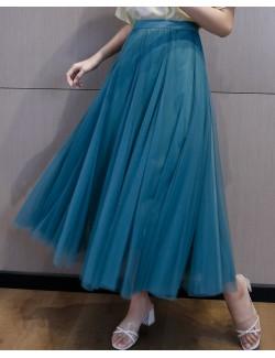 Comfortable chic lake blue tulle skirt