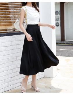 Black satin skirt for women