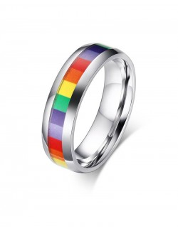 Rainbow stainless steel small ring