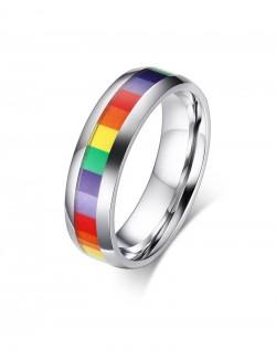 Petit anneau rainbow acier inoxydable