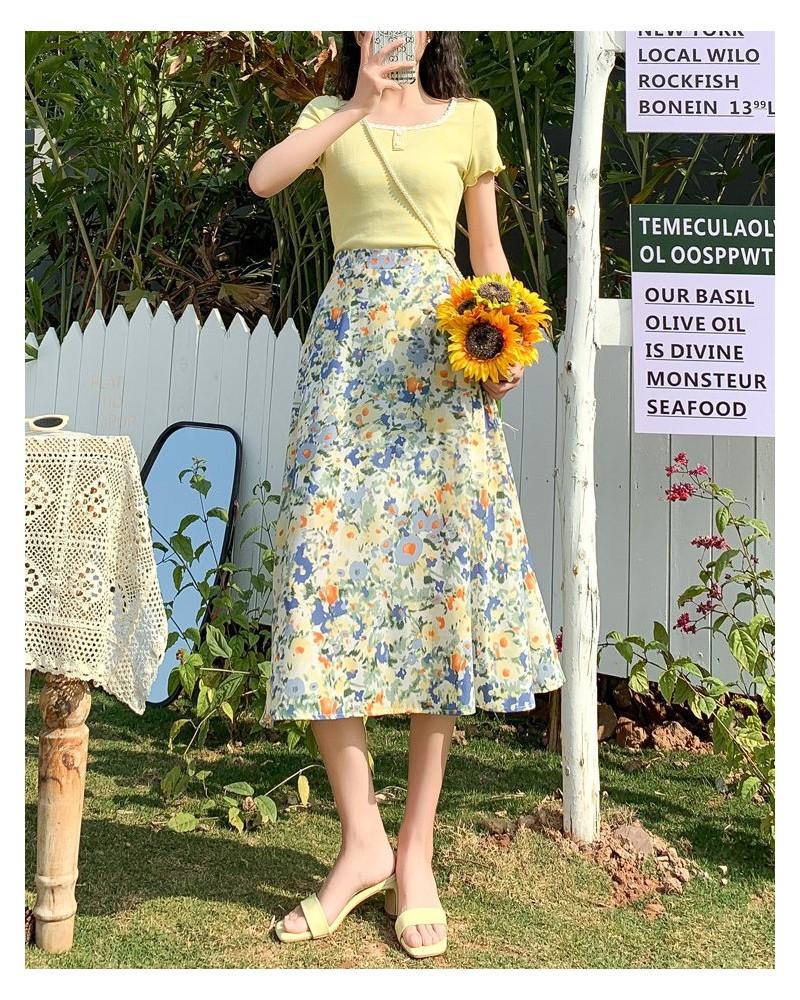 Blue chiffon floral dress