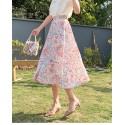 Warm color comfortable holiday floral skirt