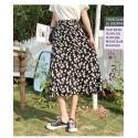 Deep color chiffon daisy floral skirt