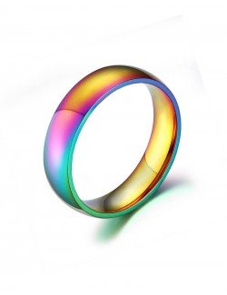Rainbow stainless steel golden ring