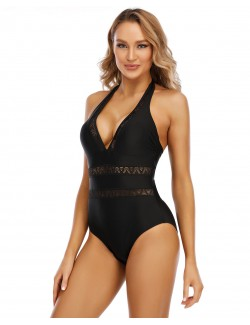 Deep v neckline one-piece ladies swim