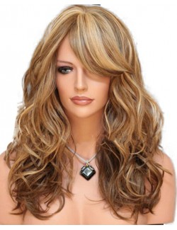 Celebrity long curly light brown hair wigs
