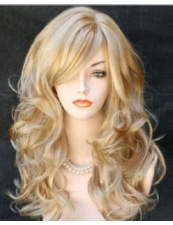 Long curly wavy blond hair wig