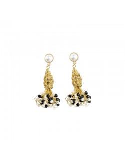 Boucles d'oreilles perles naturelles rétro plaquées or