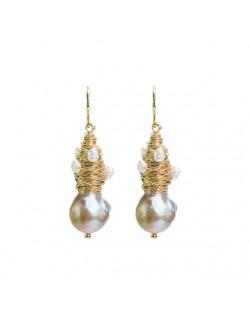 Bijoux de boucles d'oreilles de luxe faits à la main en plaqué or