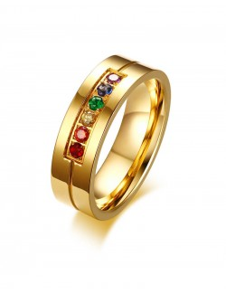 Gold plated ring zircon synthetics