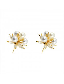 Vintage naturel pearl gold-plated earrings