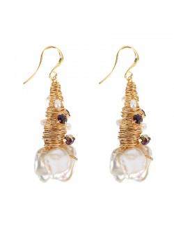 Nature pearl 18k gold plated ear drop earring