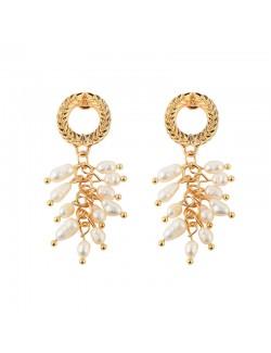 Pearl gold plated ear drop earring