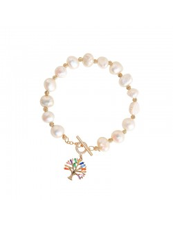 Luxury pearl gold-plated bracelet with pendant