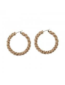Rhinestones hoop earrings ear drop in 2 colors