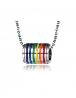 Rainbow enamel stainless steel pendant