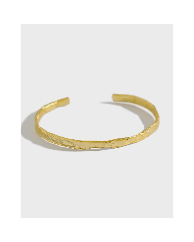 Irregular sterling silver bracelet gold foil pattern