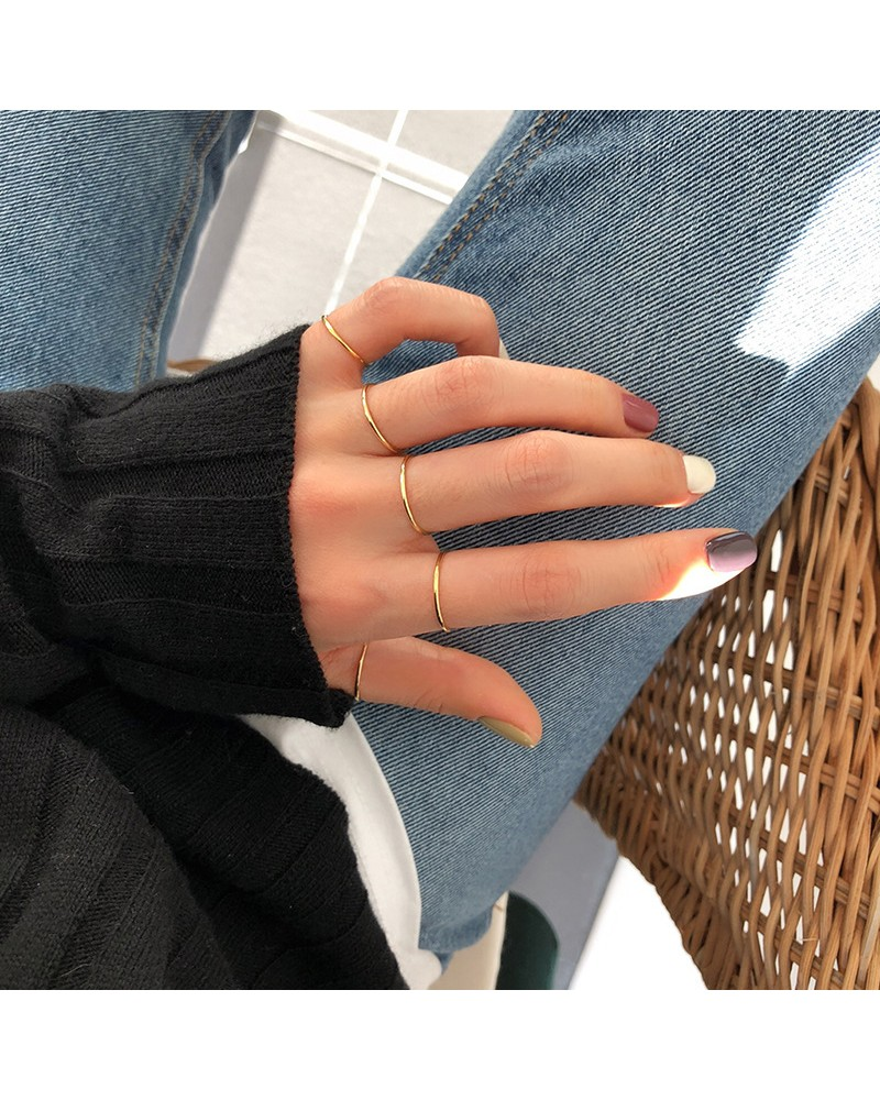 925 sterling silver fine ring smooth line ring minimalist
