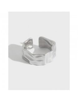 Irregular matte adjustable minimalist silver ring