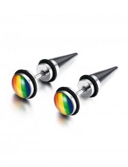 Boucles d'oreilles arc-en-ciel en acier inoxydable