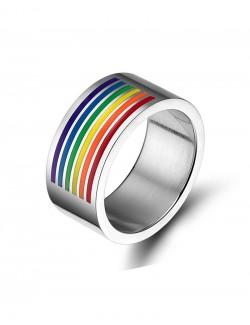 Stainless steel rainbow enamel ring
