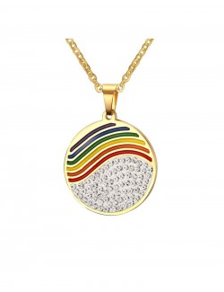 Rainbow enamel gold pendant crystal synthetics