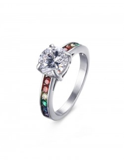 Synthetic rainbow diamond ring