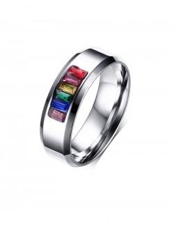 Rainbow synthetic zircons steel ring