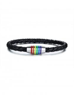 Bracelet synthetic leather rainbow closure
