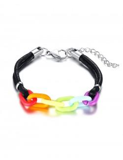 Bracelet arc-en-ciel en cuir synthétique