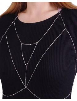 Bijou collier chaine de corps cristaux synthétiques