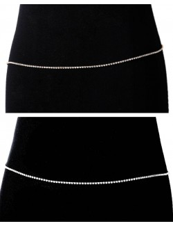 Gold body chain belt synthetic diamonds