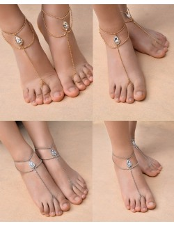 Foot crystal jewelry in 2 colors single piece
