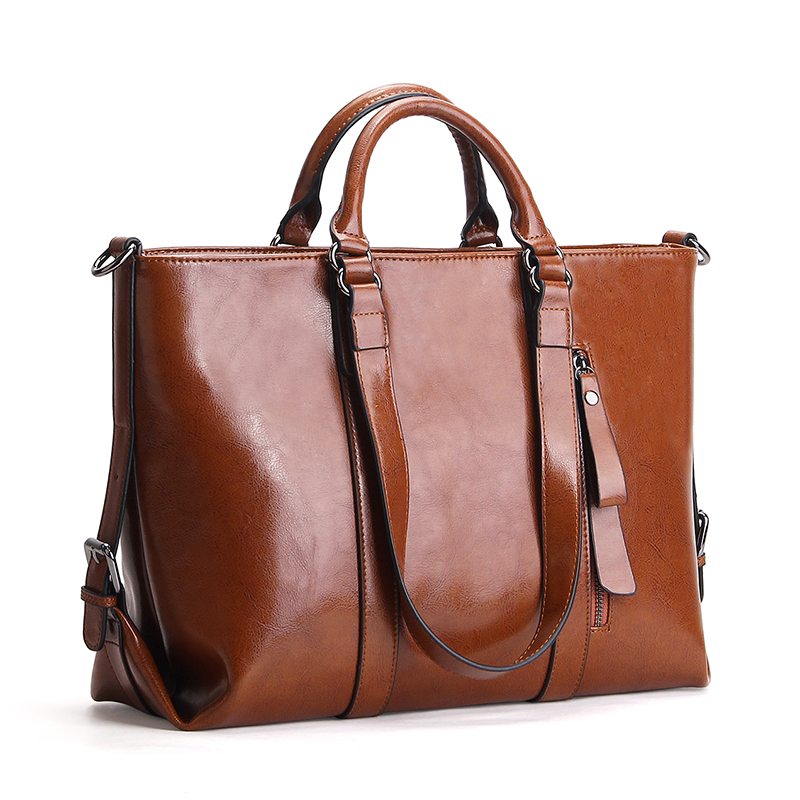 design women handbags shoulder large daily bag cowhide oil waxed leather